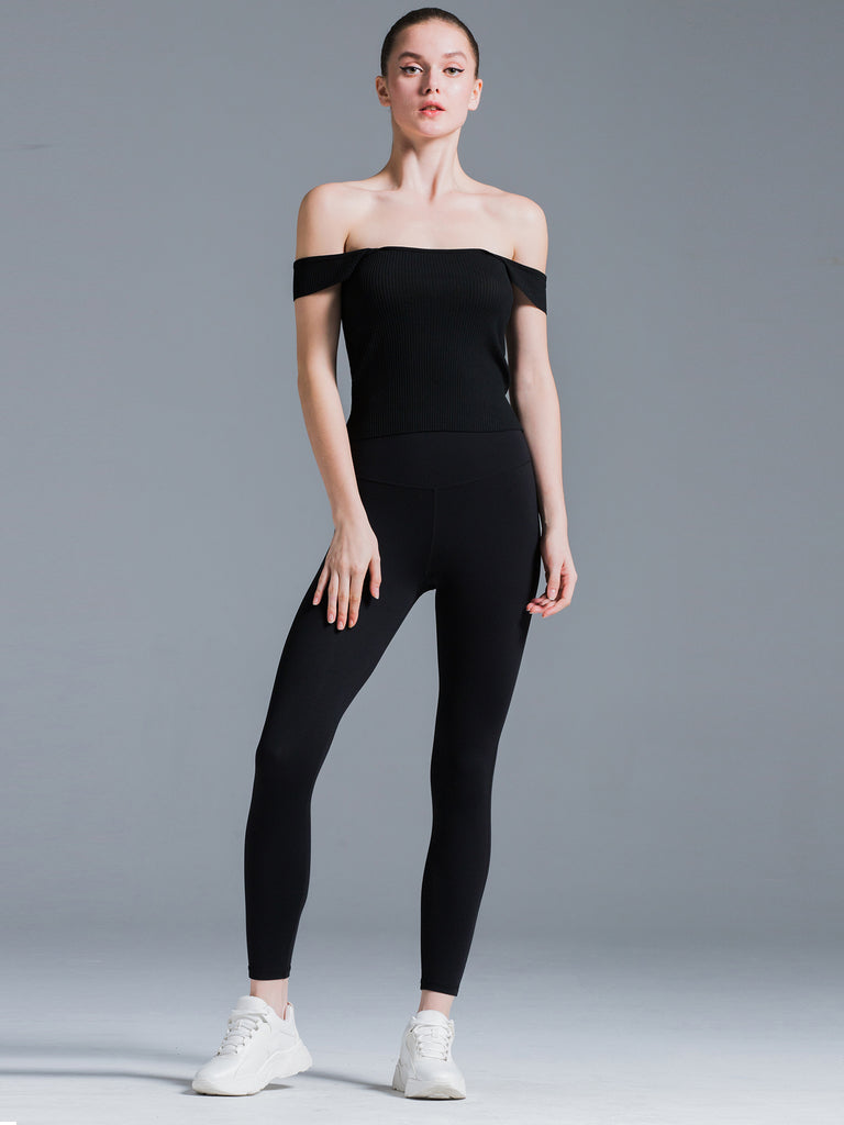 2 WAY KNIT SINGLET, BLACK