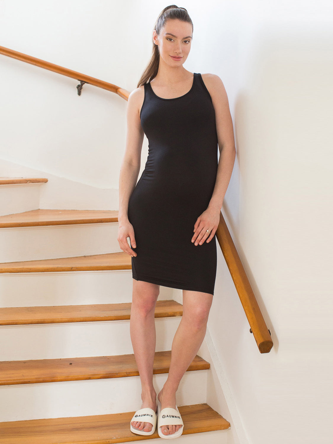 MATERNITY SOFT STRETCH SLEEVELESS MIDI DRESS, BLACK