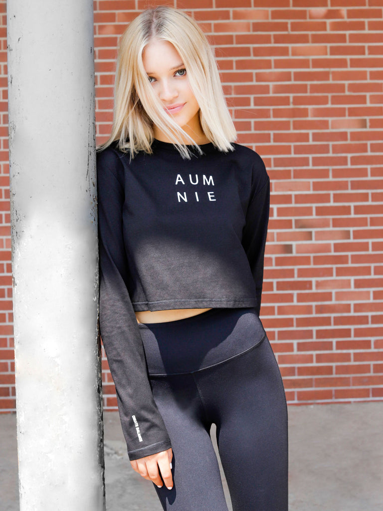 LONG SLEEVE COTTON CROP TOP, BLACK