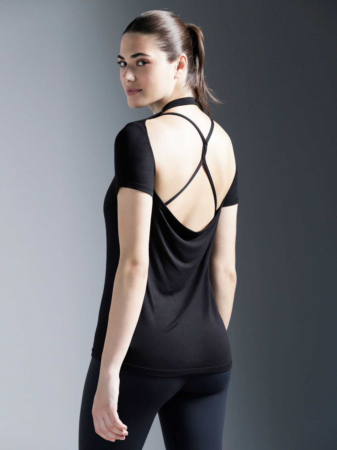 DRAPED BACK TEE, BLACK