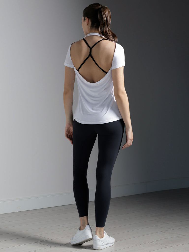 DRAPED BACK TEE, WHITE MODAL