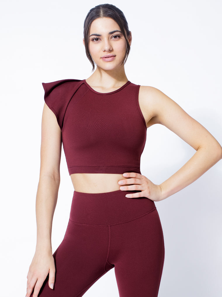 LILY CROPPED TOP, BORDEAUX