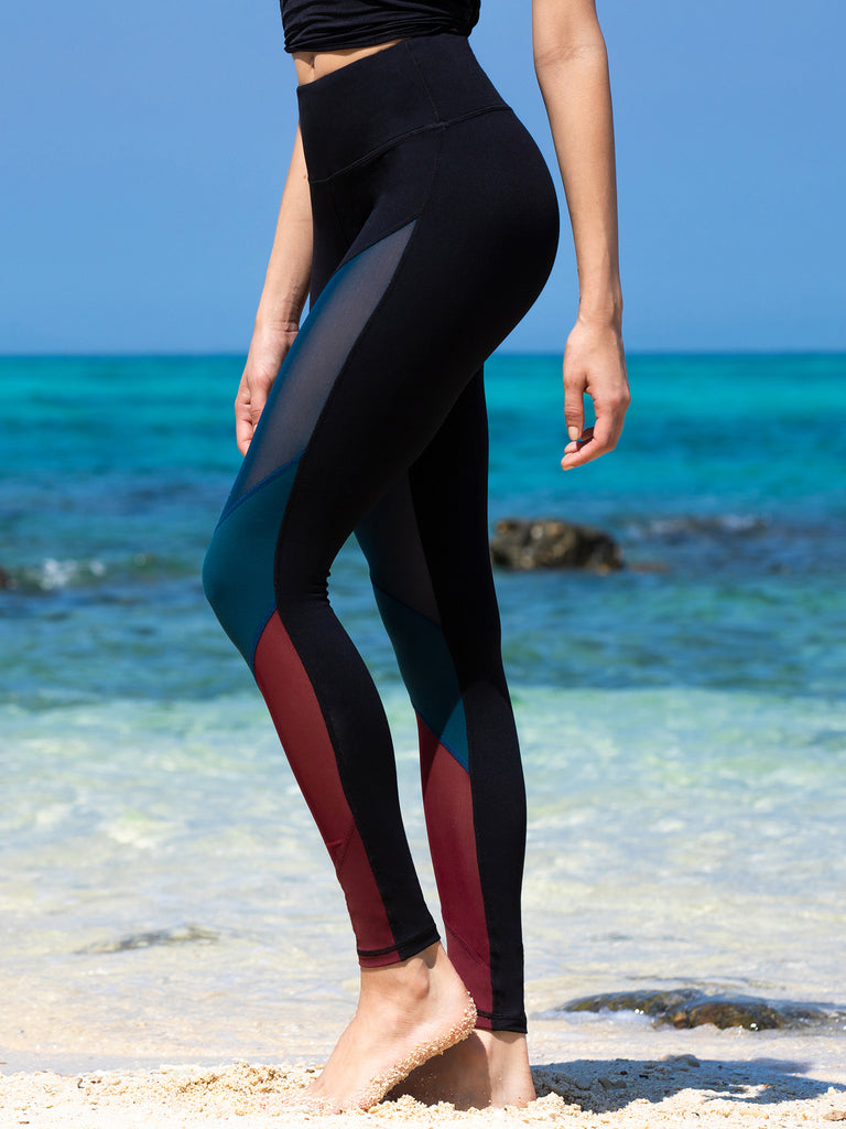 FRONT MESH PANTS, BLACK/LAKE/BORDEAUX