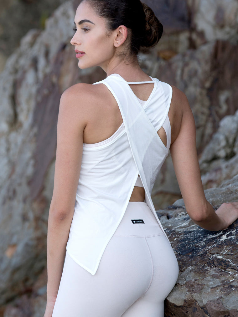 OPEN BACK CROP TOP, WHITE WFX