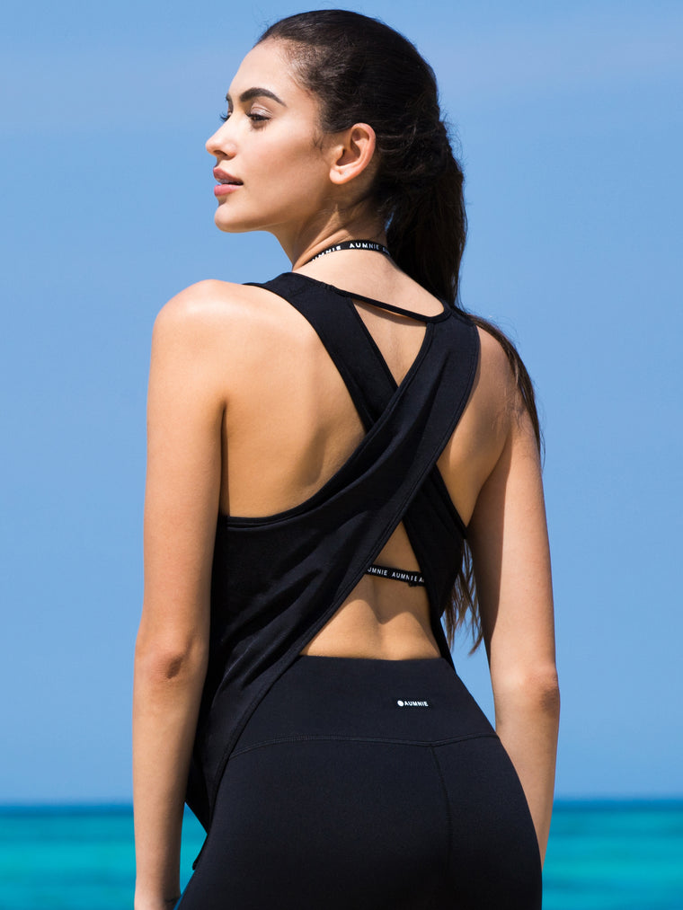 OPEN BACK CROP TOP, BLACK WFX