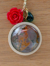 Red Rose Charm and Custom Artwork Pendant Necklace, Custom Gift