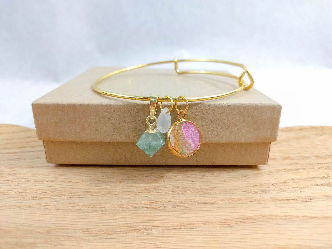 Pink and Gold Custom Artwork Stone Charm Bracelet, Custom Gift