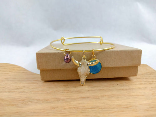Blue Custom Artwork Bull Skull Charm Bracelet, Custom Gift