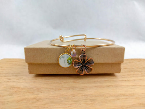 White and Green Custom Artwork Flower Charm Bracelet, Custom Gift