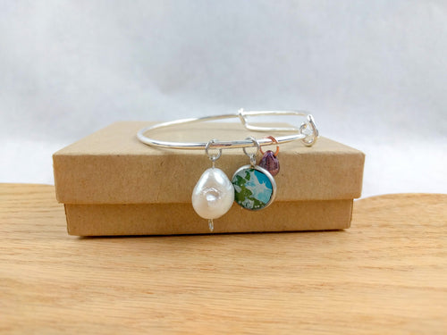 Green and Blue Custom Artwork Pearl Charm Bracelet, custom gift