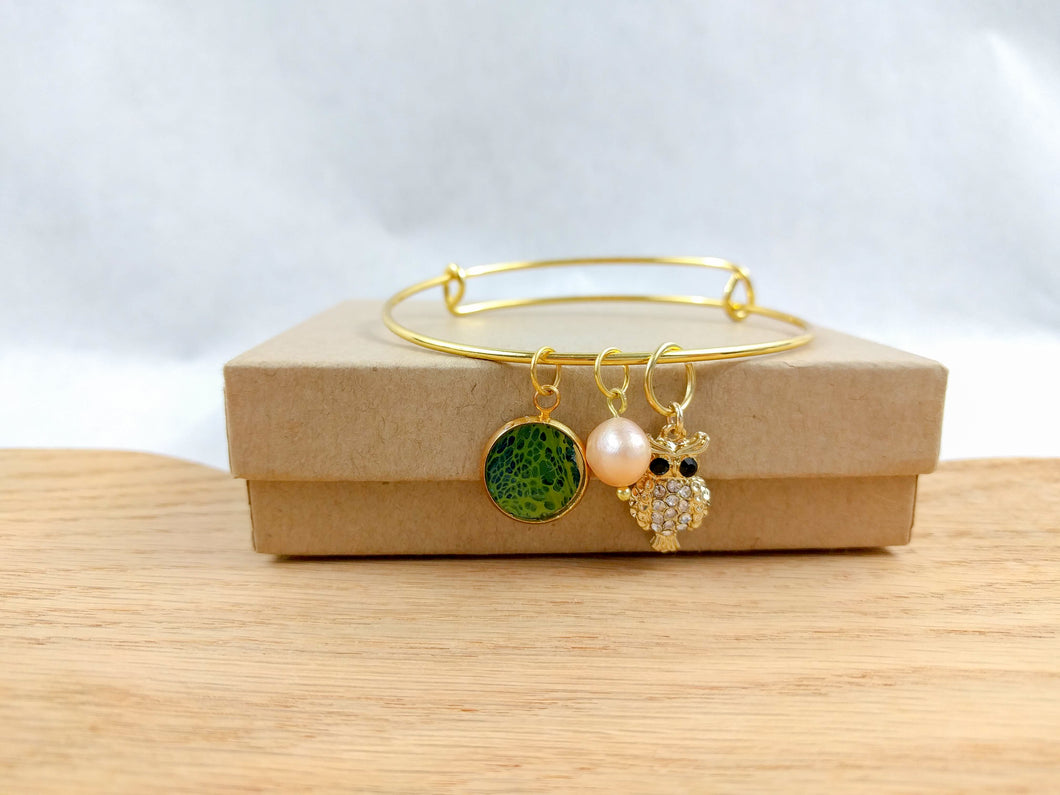 Green Toned Custom Artwork Owl Charm Bracelet, Custom Gift