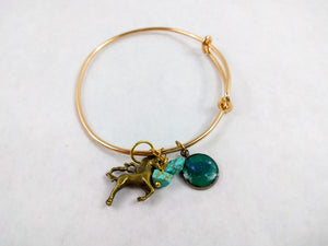 Blue Custom Artwork Unicorn Charm Bracelet, Custom Gift
