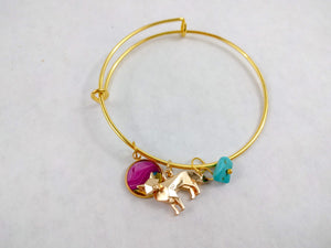 Fuchsia Custom Artwork Geometric Fox Charm Bracelet, Custom Gift