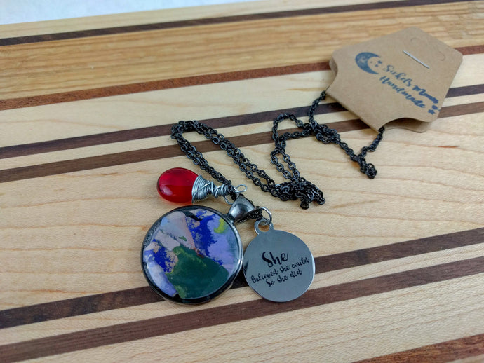 Wire Wrapped Charm Necklace with an Inspirational Quote, Custom Gift