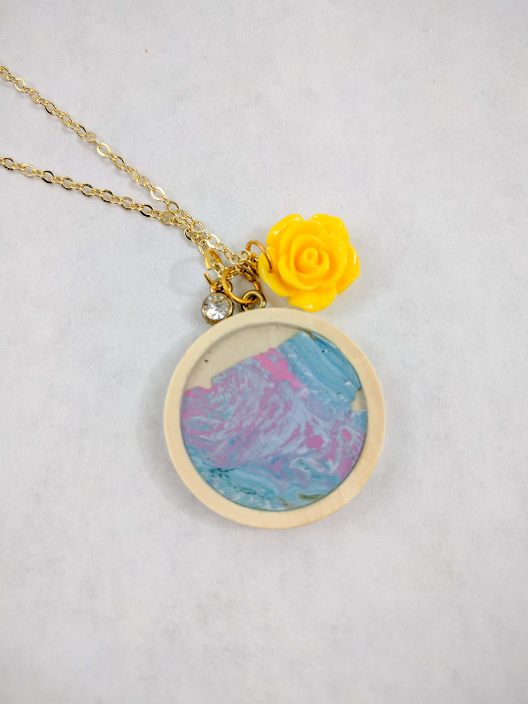 Yellow Rose Charm and Custom Artwork Pendant Necklace, Custom Gift