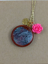 Pink Rose Charm and Custom Artwork Pendant Necklace, Custom Gift