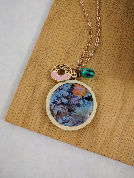 Modern Circle Charm with Custom Artwork Pendant Necklace, Custom Gift