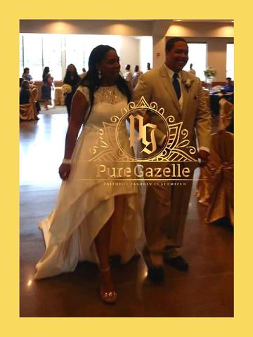 Bride and Groom walk together as bride is wearing custom dress from Pure Gazelle