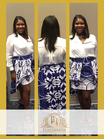 Smiling African American Woman modeling Pure Gazelle african print skirt in blue and white.  Showing the front, back and side view of fitted skirt with attached high low skirt that is longer in the back.