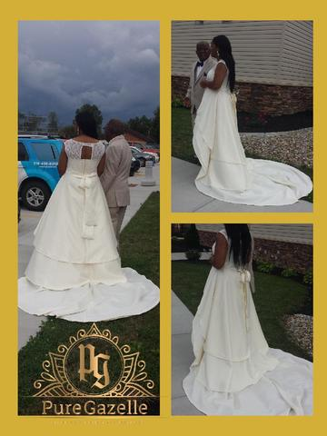 Three photos of a bride wearing white wedding dress designed by Pure Gazelle