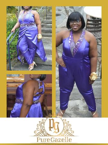 Three images of woman in purple jumpsuit with optional skirt