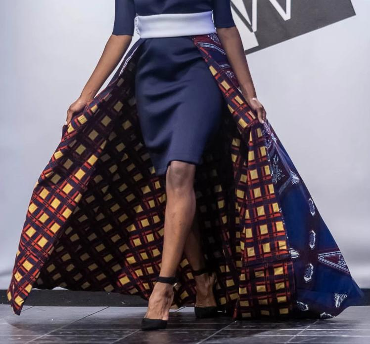 Maxi Length Reversible Wrap Skirt with African Print