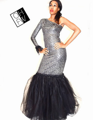 Evening Glow Mermaid Dress with Sequins and Removable Tulle Skirt