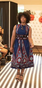 African Print Dress with Full Skirt