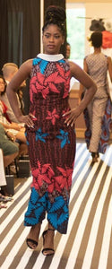 Model on runway wearing African Print Fitted Dress with Collar.