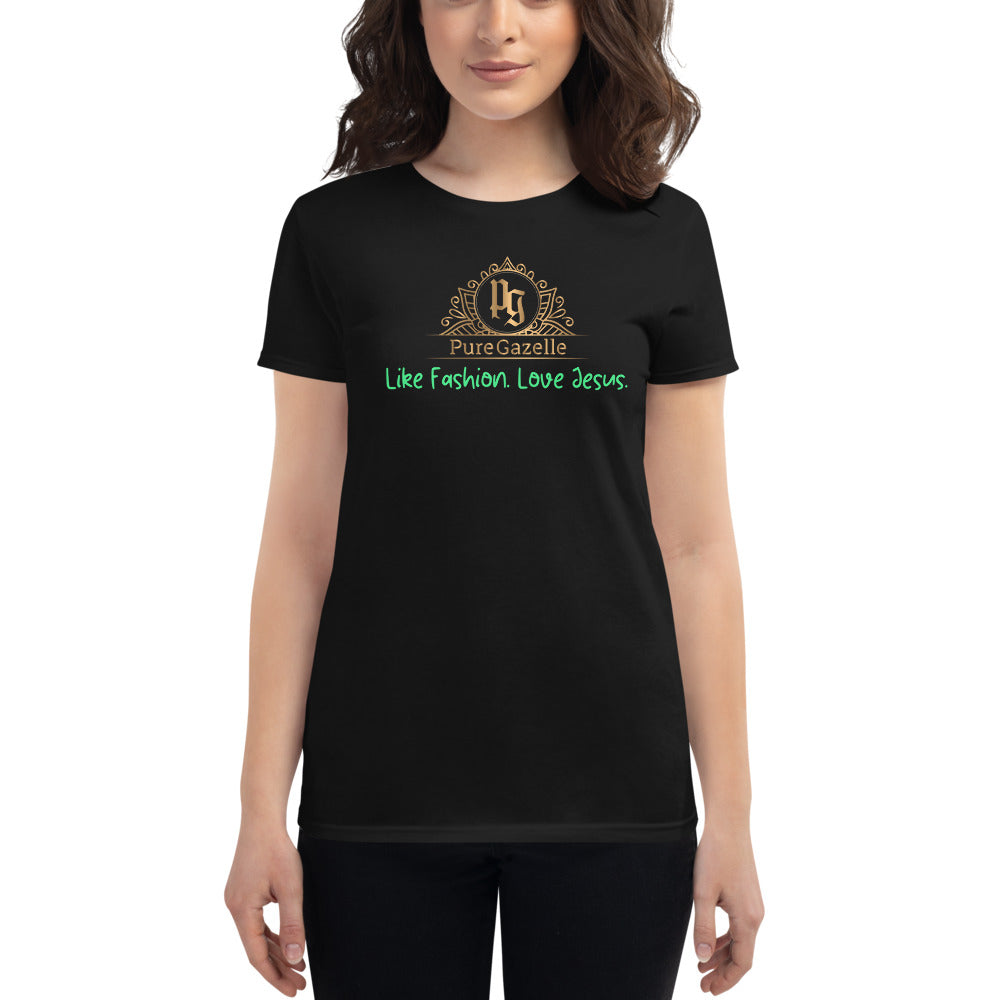 Women's short sleeve Pure Gazelle Logo Black with Green
