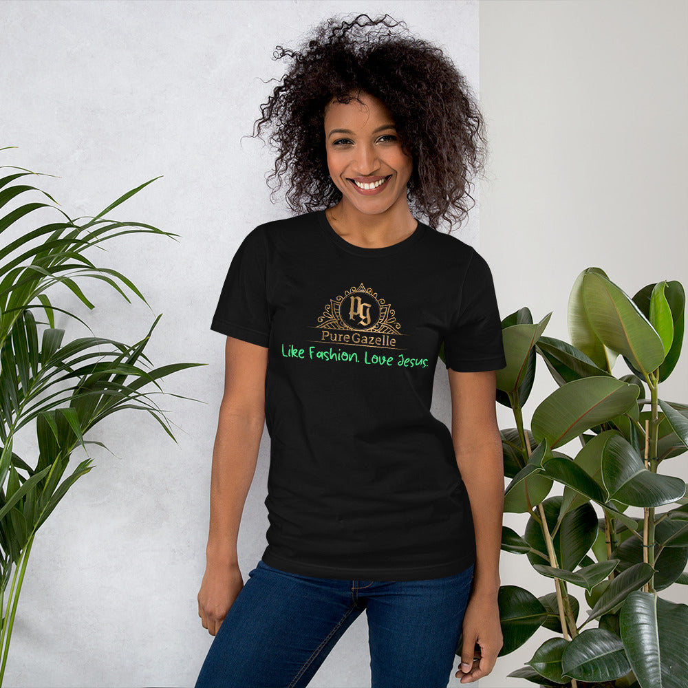 Short-Sleeve Unisex T-Shirt Pure Gazelle Logo t-shirt Black with Green