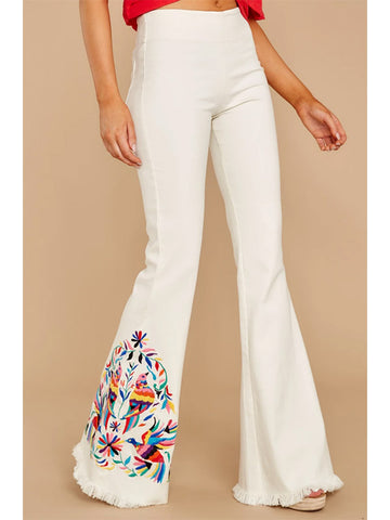 Women's Floral Pattern White High Waist Flared Jeans