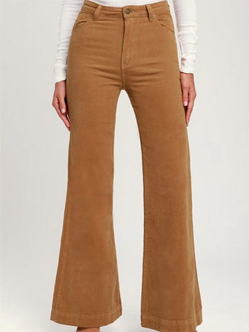 Women's Solid Color Corduroy Slight Flared Pants