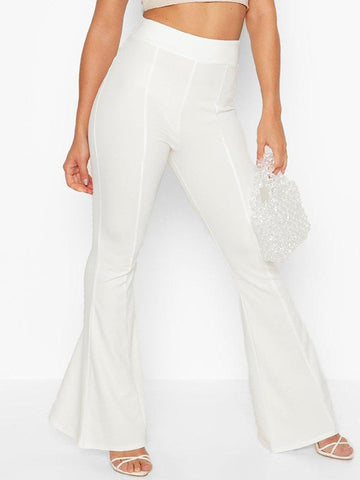Women's Solid Color High Waist Flared Pants