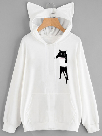 Chest Pocket Cat Hooded Sweater
