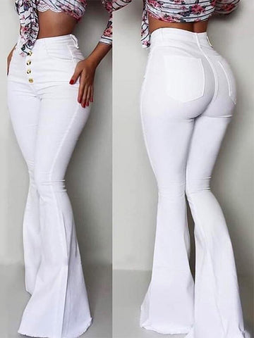 Women's Solid Color High Waist Buttoned Bell-Bottom Pants