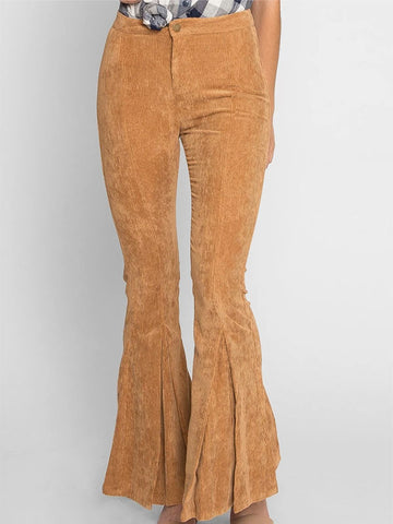 Women's Solid Color High Waist Corduroy Flared Pants