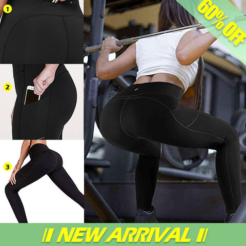 Yoga Pants with Pockets, Tummy Control, Workout Running Leggings with Pockets for Women