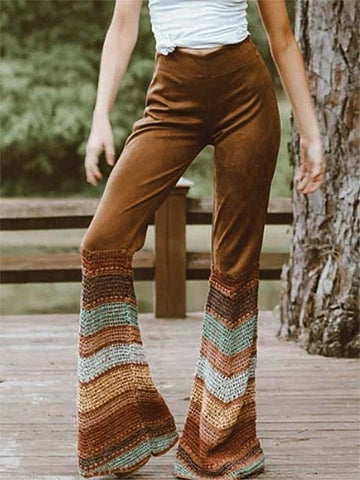 Vintage Women's Suede Stitching Rainbow Flared Pants