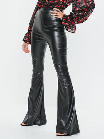 Women's  Black Faux Leather Flared Pants