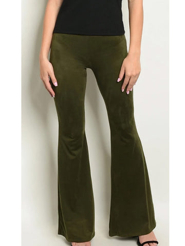 Women's Solid Color Elastic Waist Suede Flared Pants