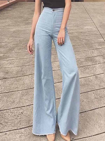 Women's High Waisted Vintage Big Flare Wide Leg Long Pants