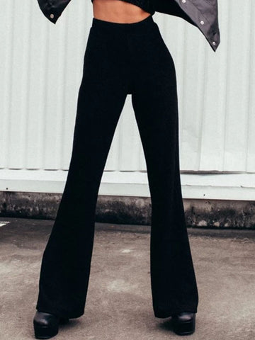 Women's Solid Color High Waist Flare Trousers