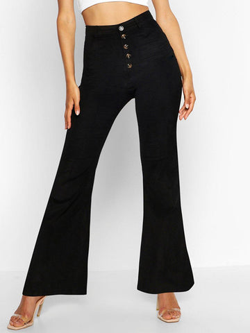 Women's Solid Color High Waist Buttoned Flared Pants