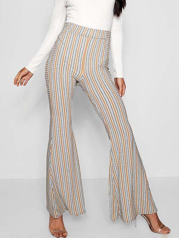 Women's Ribbed Striped Flare Pants