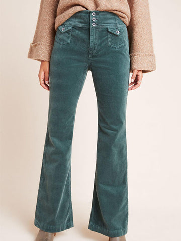 Women's Solid Color Slight Flared Corduroy Jeans