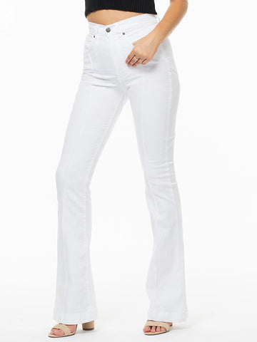 Womens Stitched Star Solid Color High Waisted Jeans