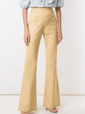 Women's Solid Color Button Slight Flared Pants