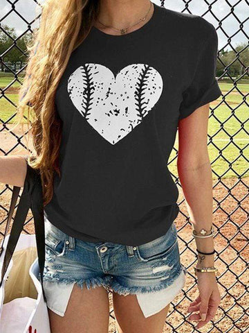wiccous.com T-shirts Black / S Heart Design Baseball T-shirts