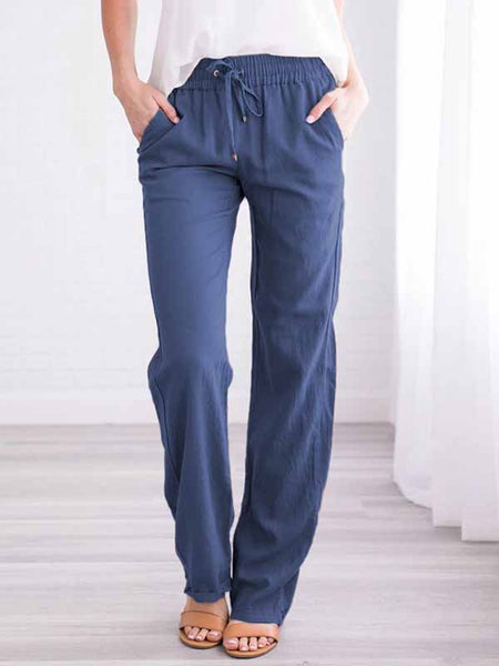 Solid Color Casual Pants